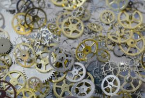 reduce friction with oiled cogs